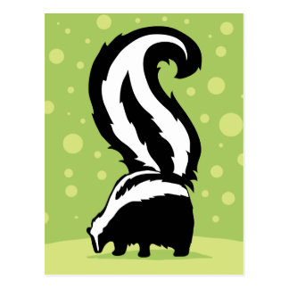 Bold Skunk Illustration With Green Dots Postcard