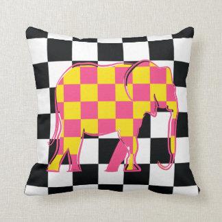 Bold Squares Elephant Cartoon Chess Pattern Chic Throw Pillow