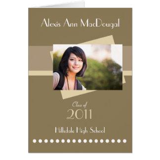Bold Stripe Folded Graduation Invitation (tan)