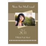 Bold Stripe Folded Graduation Invitation (tan) Greeting Card