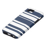 Bold Stripe Pattern - white and nautical navy iPhone 5 Cases