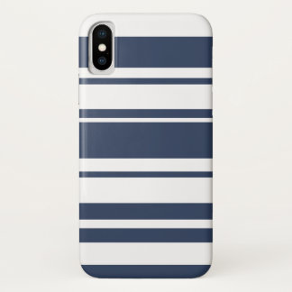 Bold Stripe Pattern - white and nautical navy iPhone X Case
