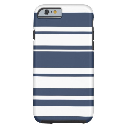 Bold Stripe Pattern - white and nautical navy Tough iPhone 6 Case