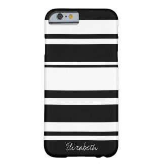 Bold Stripe Pattern with Name - black white Barely There iPhone 6 Case