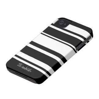 Bold Stripe Pattern with Name - black white iPhone 4 Covers