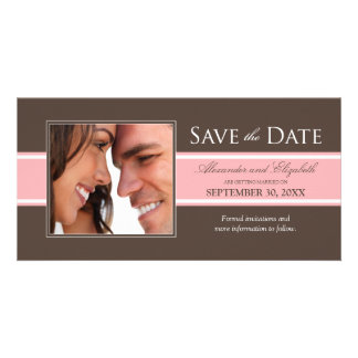 Bold Stripe Save the Date (chocolate/pink) Photo Cards