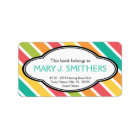 Bold Stripes Colourful Ladies Bookplate Label