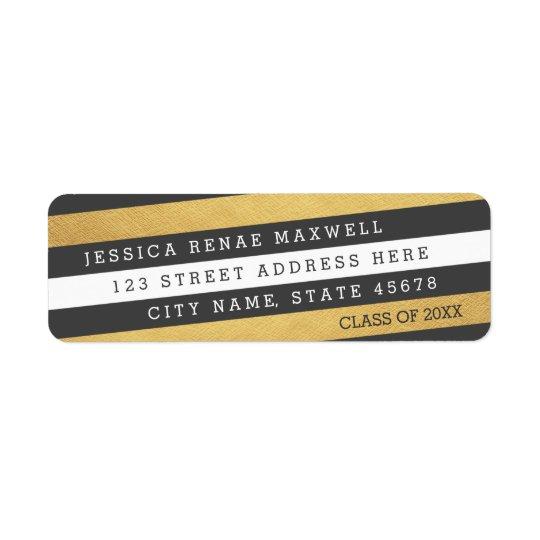 Bold Stripes Graduation Return Address Labels
