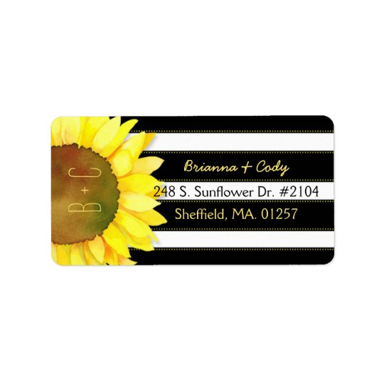 Bold Stripes n Watercolor Sunflower Wedding Label