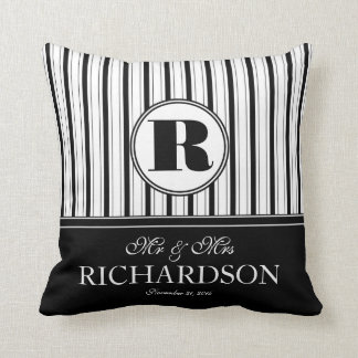 Bold Stripes Pattern Monogram Mr and Mrs Throw Pillows