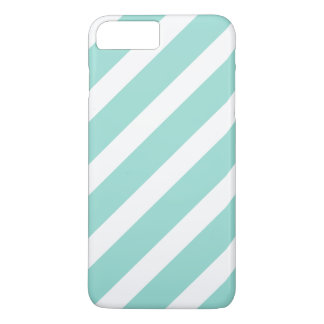 Bold Teal and White Stripes Pattern iPhone 7 Plus Case