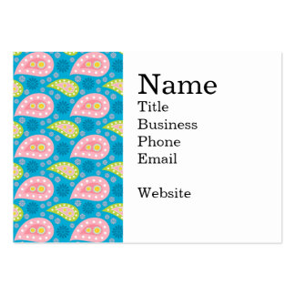 Bold Teal Pink and Lime Green Paisley Pattern Pack Of Chubby Business Cards