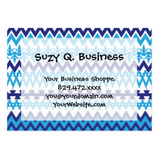 Bold Teal Turquoise Blue Tribal Chevron Pattern Pack Of Chubby Business Cards