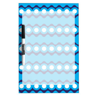 Bold Teal Turquoise Blue Waves and Circles Pattern Dry Erase Board