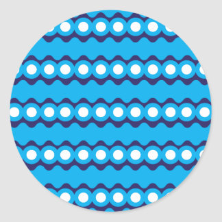 Bold Teal Turquoise Blue Waves and Circles Pattern Round Sticker