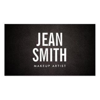 Bold Text Dark Leather Makeup Artist Business Card