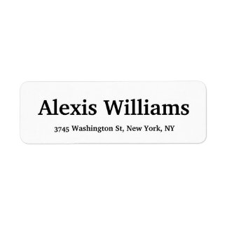 Bold Text Legible Classical Elegant Black & White Return Address Label