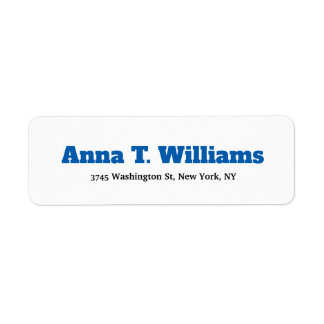 Bold Text Legible Classical Elegant Blue & White Return Address Label