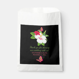 Bold Tropical Hibiscus Butterfly Wedding Favour Bags