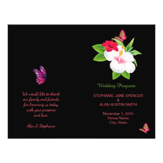 Bold Tropical Hibiscus Butterfly Wedding Program 21.5 Cm X 28 Cm Flyer