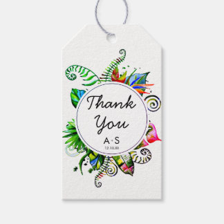 Bold Tropical Palm Leaf Wreath Wedding Thank You Gift Tags