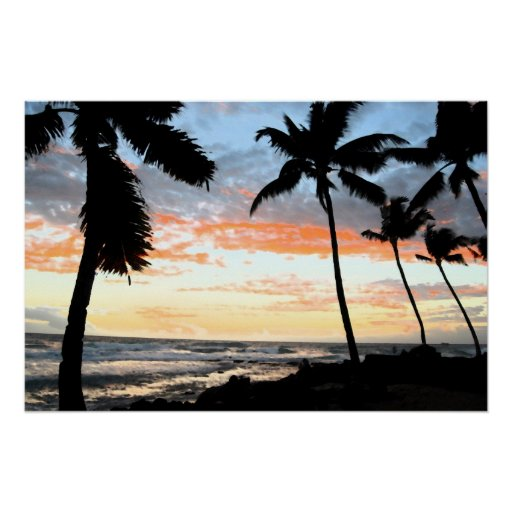 Bold Tropical Palm Tree Coastline Posters