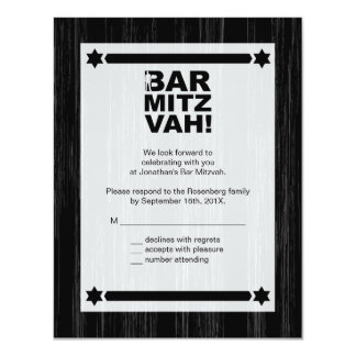 Bold Type Bar Mitzvah Reply Card in Black 11 Cm X 14 Cm Invitation Card