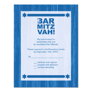 Bold Type Bar Mitzvah Reply Card in Blue 11 Cm X 14 Cm Invitation Card