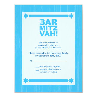Bold Type Bar Mitzvah Reply Card in Light Blue 11 Cm X 14 Cm Invitation Card