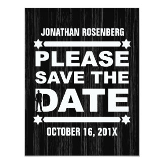 Bold Type Bar Mitzvah Save the Date in Black Card