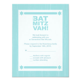Bold Type Bat Mitzvah Reply Card in Light Teal 11 Cm X 14 Cm Invitation Card