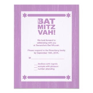 Bold Type Bat Mitzvah Reply Card in Purple 11 Cm X 14 Cm Invitation Card