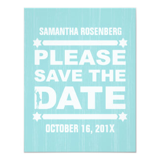 Bold Type Bat Mitzvah Save the Date in Light Teal 11 Cm X 14 Cm Invitation Card