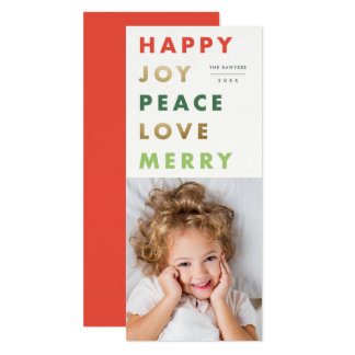 Bold type holiday portrait photo card