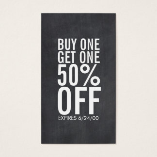 Bold Typography Discount Coupon Chalkboard Business Card