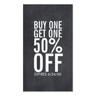 Bold Typography Discount Coupon Chalkboard Pack Of Standard Business Cards