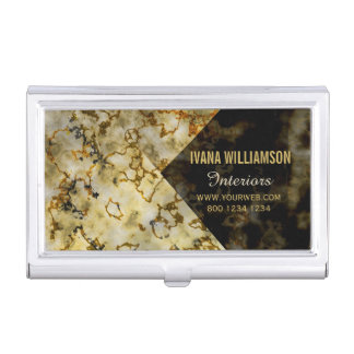 Bold  Upscale Luxurious Marbleized Cracked Gold Business Card Holder