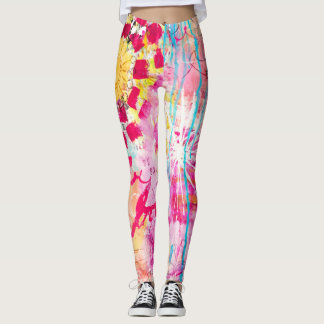 Bold Vibrant Abstract Art Paint Splatter Pink Aqua Leggings