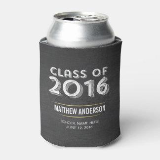 Bold Vintage Chalkboard Faux Gold 2016 Graduation Can Cooler