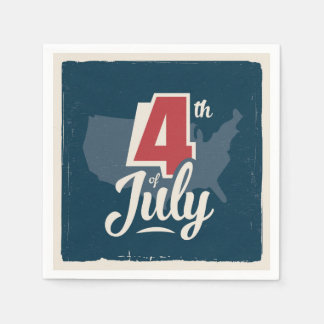 Bold vintage text July 4th independence red blue Paper Napkins