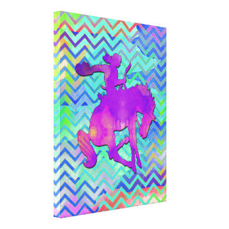 Bold Watercolor Cowgirl Gallery Wrapped Canvas