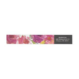 Bold Watercolor Floral Wrap Return Address Label