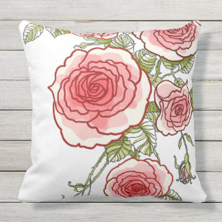 Bold Watercolor Pink Roses by apassion4pixels Throw Pillow