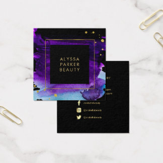 Bold Watercolor Splash with Faux Gold Look Accents Square Business Card