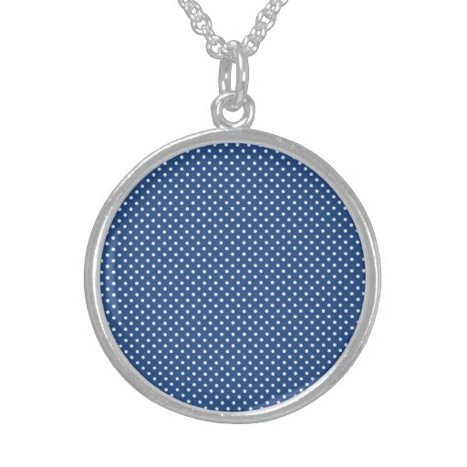 Bold White Circles on Navy Pattern Personalized Necklace