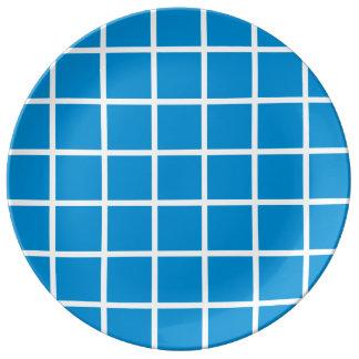 Bold White Lattice Stripes on Summer Blue Plate