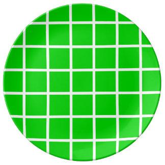 Bold White Lattice Stripes on Summer Green Plate