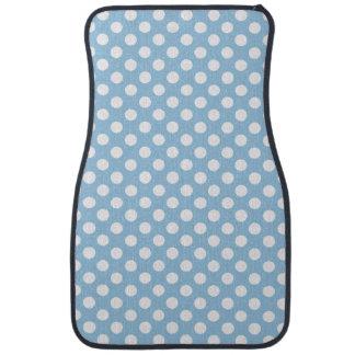 Bold White Polka Dots on Pastel Blue Car Mat