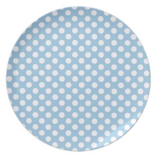 Bold White Polka Dots on Pastel Blue Dinner Plate