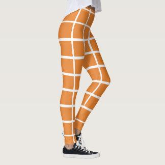 Bold White Windowpane Horizontal Vertical Stripes Leggings